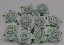 1.5cm GREYISH GREEN (Celadon) Mulberry Paper Roses